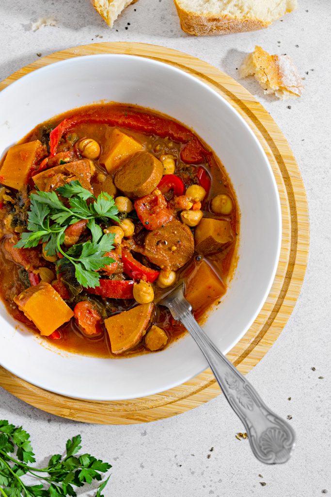 One Pot Vegan Chickpea and Chorizo Stew
