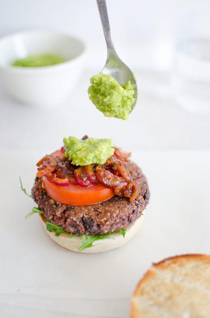 Building the Vegan beetroot & black bean burger
