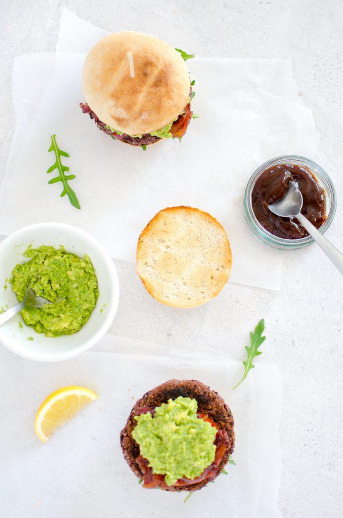 Vegan beetroot & black bean burger