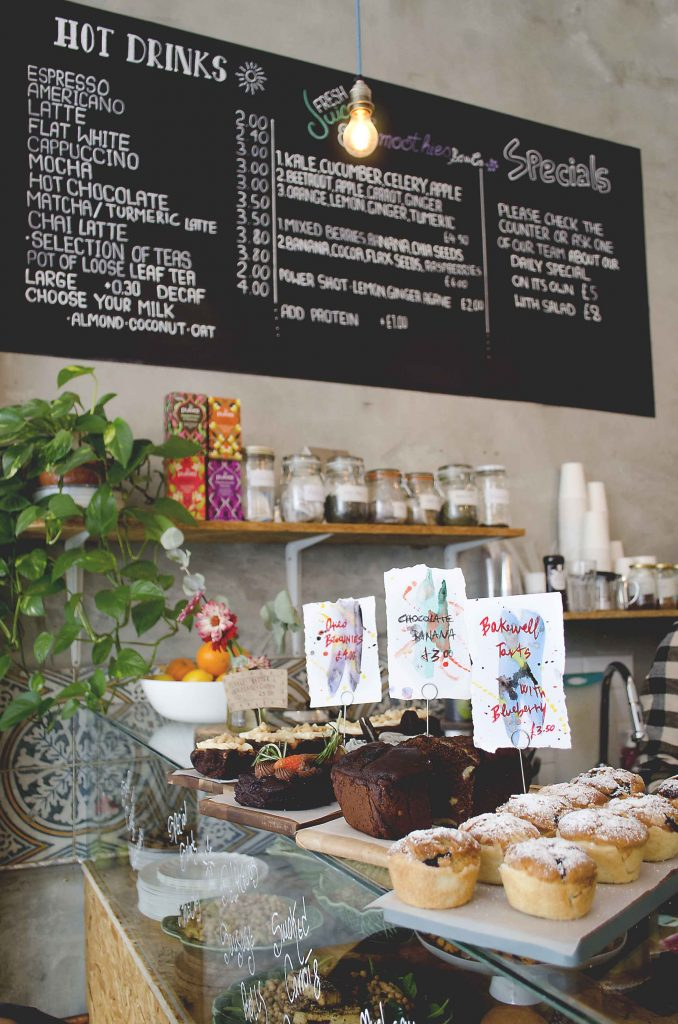 Counter and vegan cakes in Lele's cafe, London