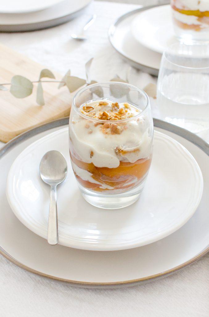 Vegan peaches and cream dessert