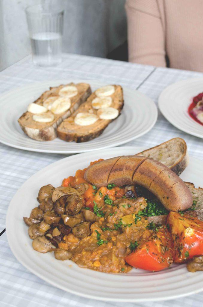 vegan full english and banana on toast at Lele's cafe, London