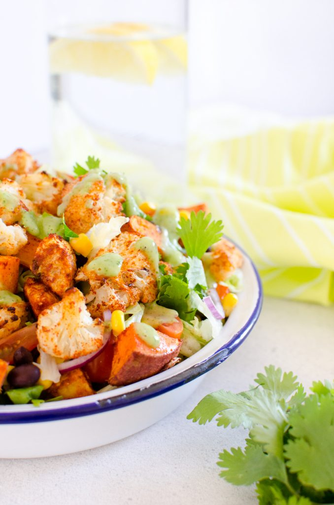Close up image of the finished Vegan Mexican Salad recipe by Lovely Jubley