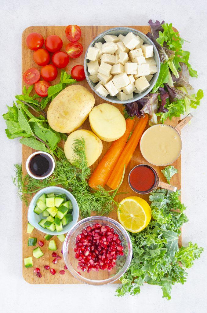 Vegan Summer Salad with Tofu and Dill Potatoes
