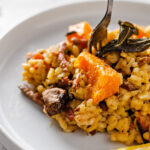 Vegan butternut squash, sage and bacon bit risotto