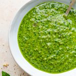 Super green kale and walnut pesto in bowl