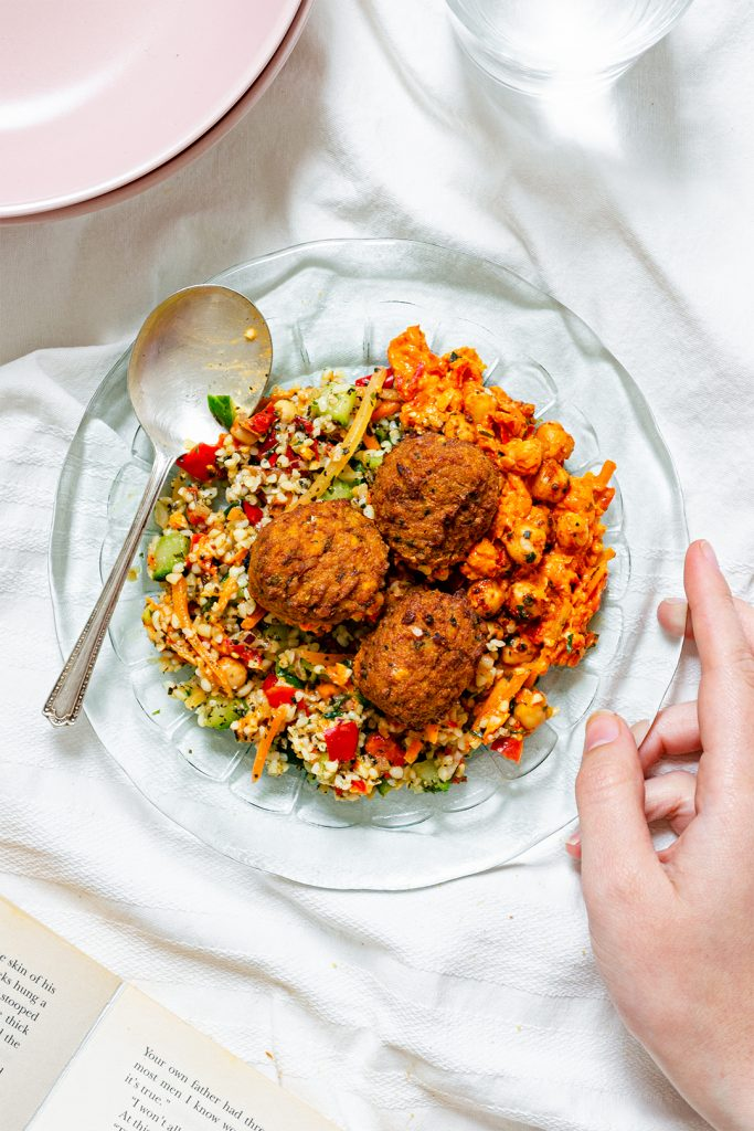 Vegan Falafel salad with chickpeas and tabouleh from the Co-op Gro range