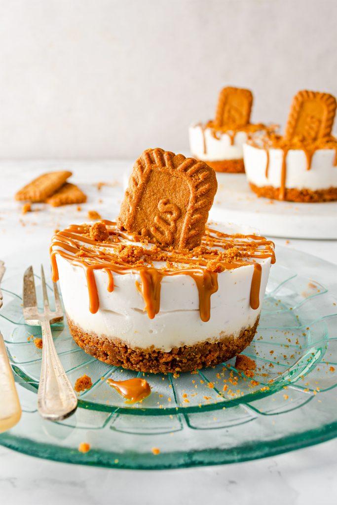 individual vegan lotus biscoff cheesecake on a plate