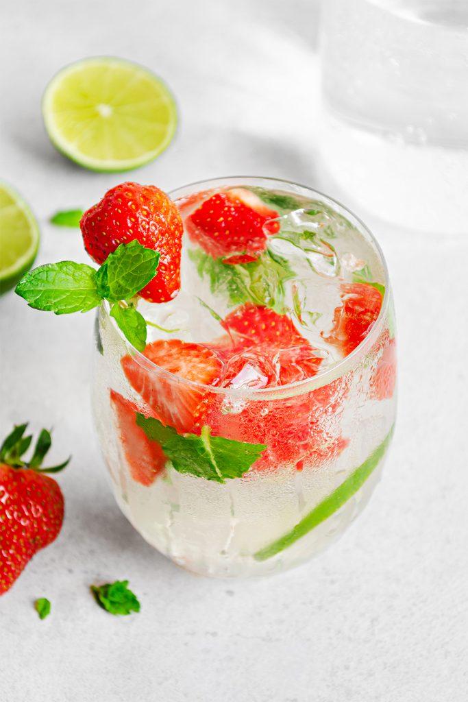 A glass of refreshing summer white wine spritz