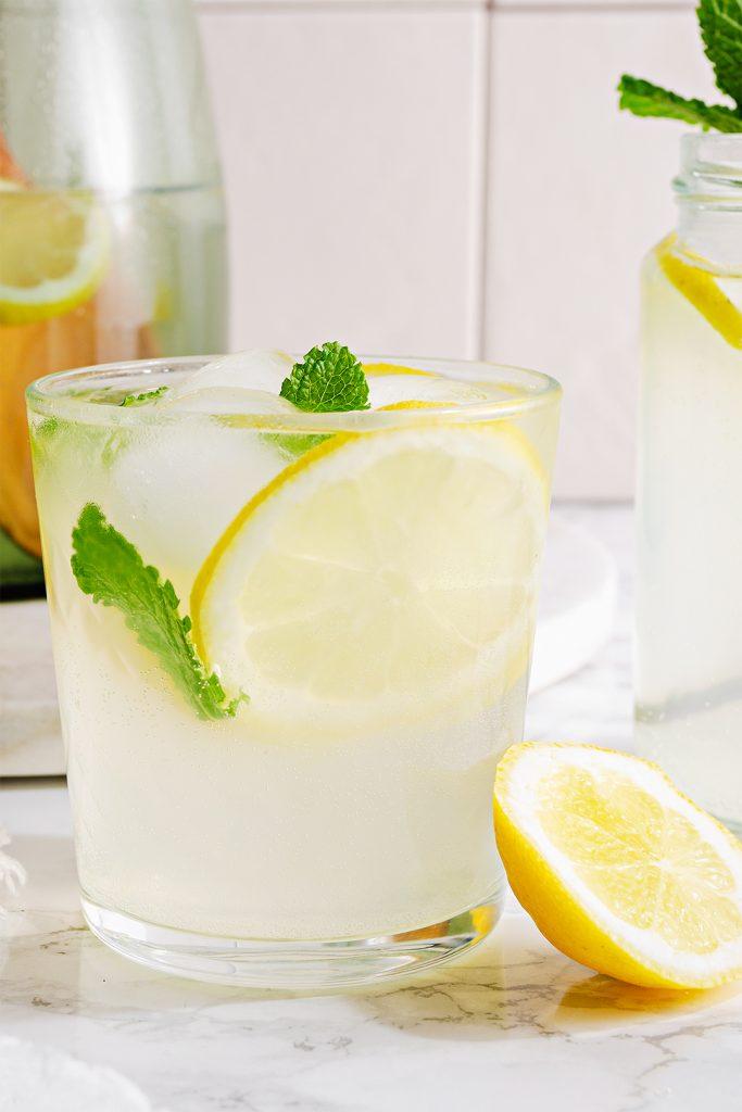 Refreshing summer homemade mint and lemonade cooler