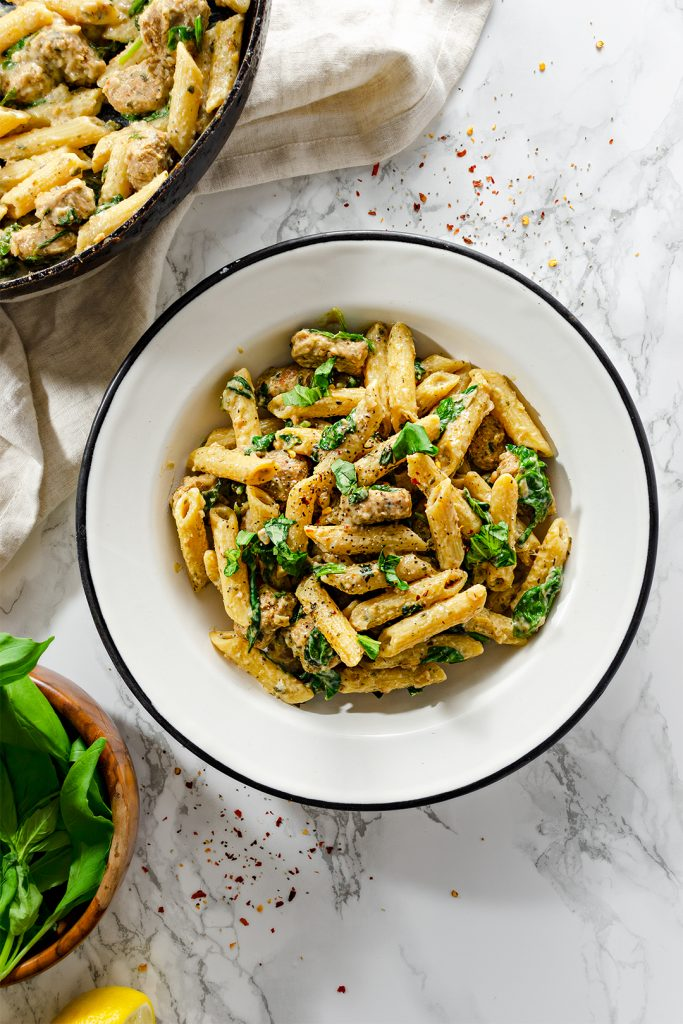 Bowl of our easy vegan creamy sausage pasta