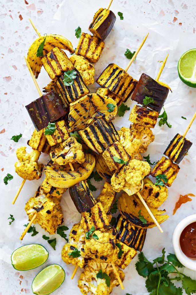 Indian inspired vegan BBQ vegetable skewers