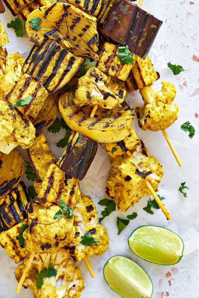 Indian inspired vegan BBQ skewers