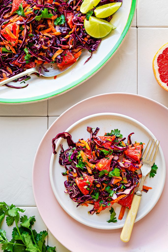 Mexican Salad with Red Cabbage and Grapefruit